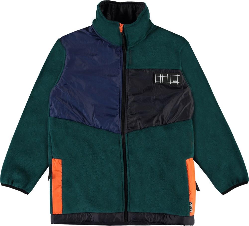 Urbain - Night Forest - Dark green and neon fleece jacket