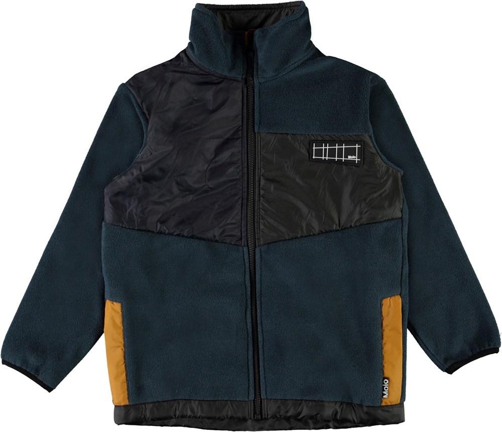 Urbain - Summer Night - Dark blue fleece jacket with beige