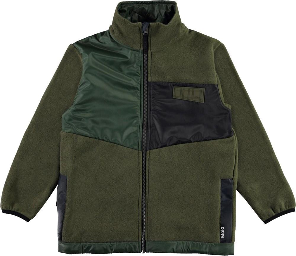 Urbain - Vegetation - Green fleece jacket with black details