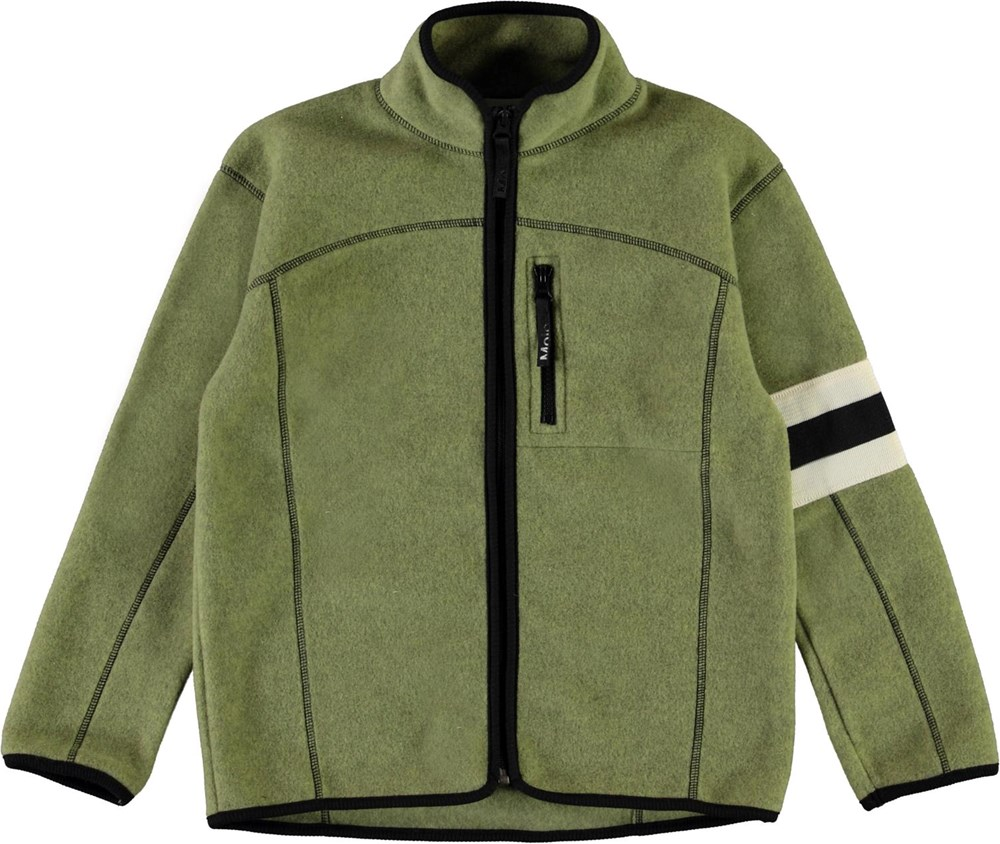 Urbano - Khaki Green - Green fleece jacket with stripes