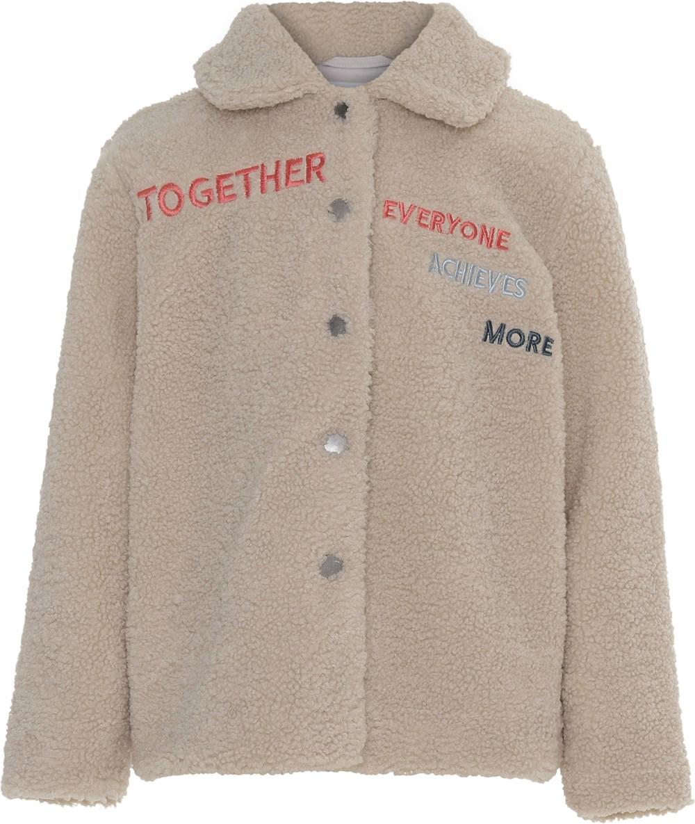 Uri - Lunar Rock - Beige fleece jacket with text