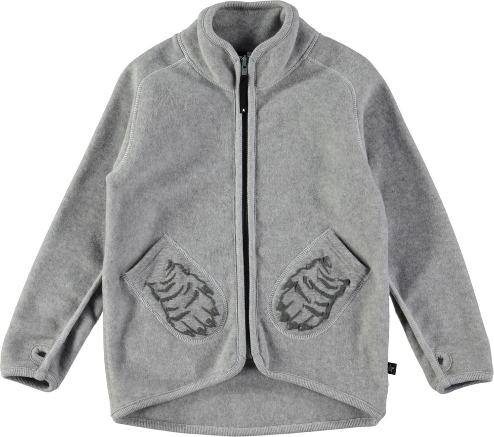Ushi - Grey Melange - grey fleece jacket with zipper - Molo