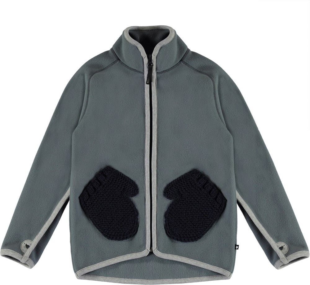 Ushi - Stormy Weather - Grey fleece jacket with mitten pockets