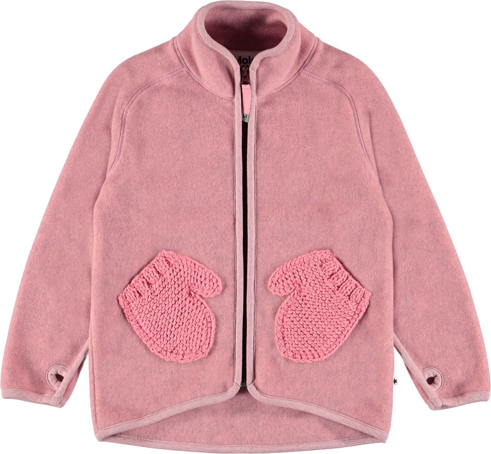 Ushi - Bubble Pink - Pink fleece jacket with mitten pockets.