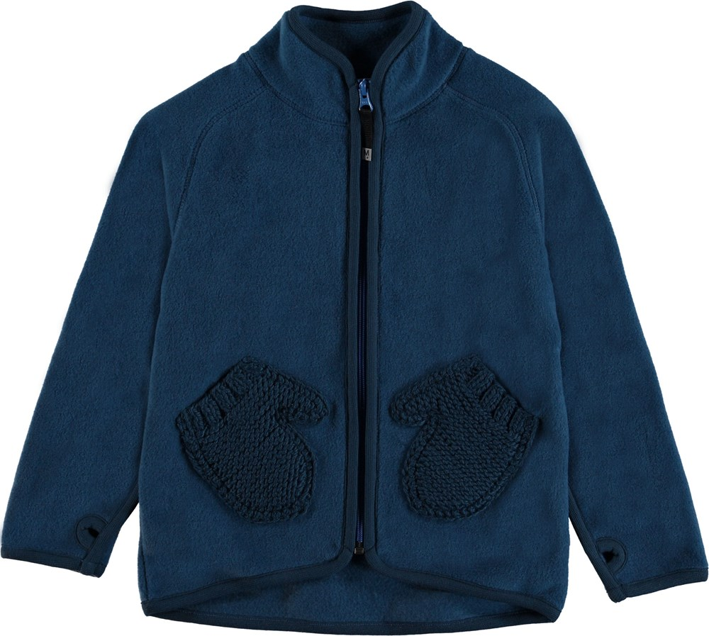 Ushi - Ocean Blue - Blue fleece jacket with mittens pockets.