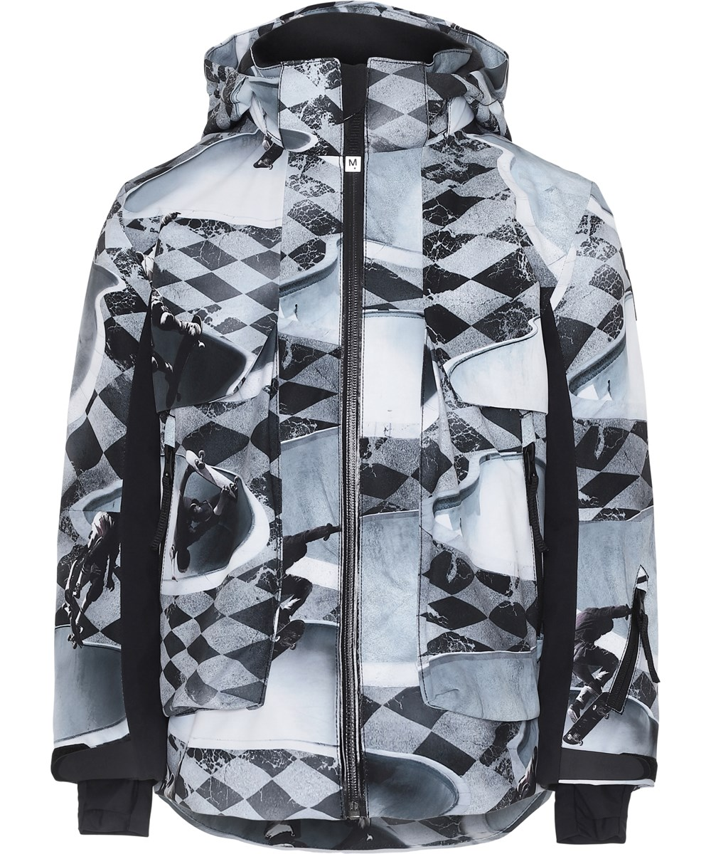 Alpine - Check Pools - Grey ski jacket in plaid.