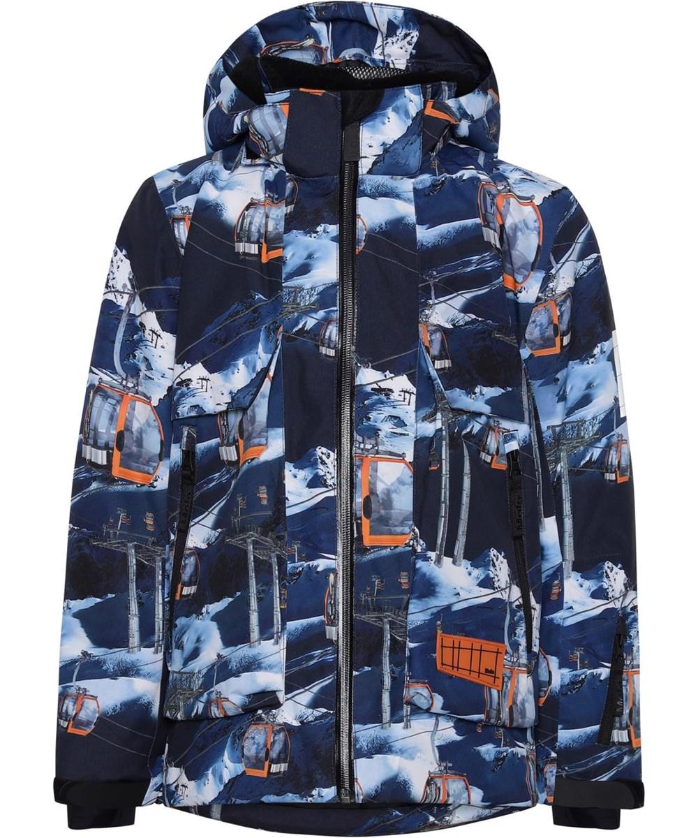 Alpine - Way Up - Recycled waterproof blue ski jacket with ski lift