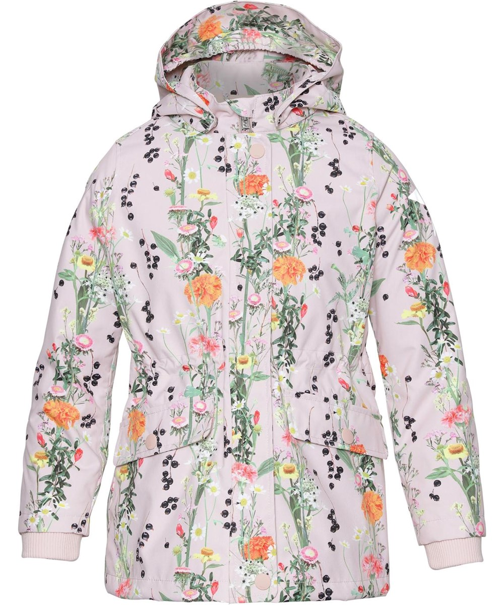 Carole - Vertical Flowers - Parka jacket in pink with floral print