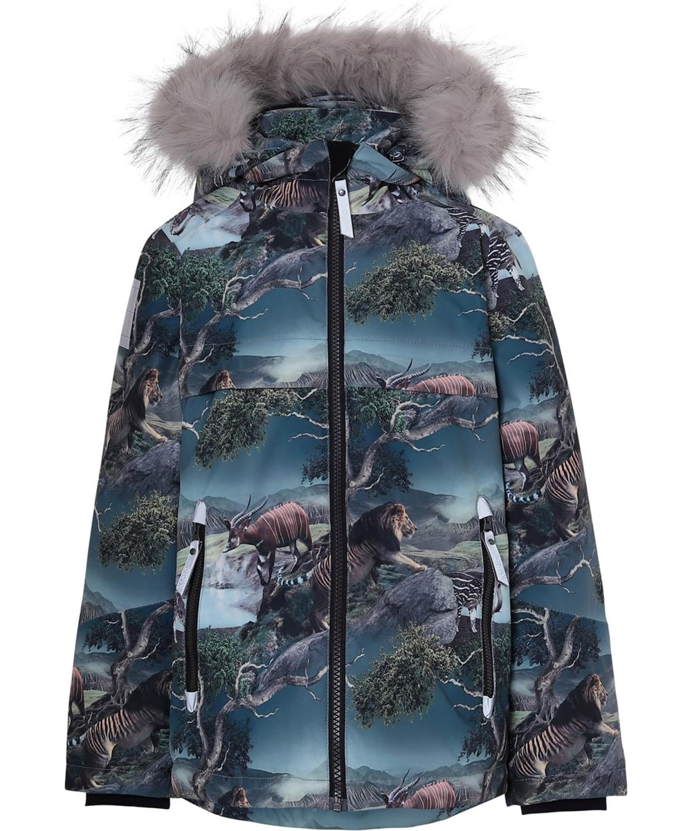 Castor Fur - Creation - Winter jacket with animal print and fur