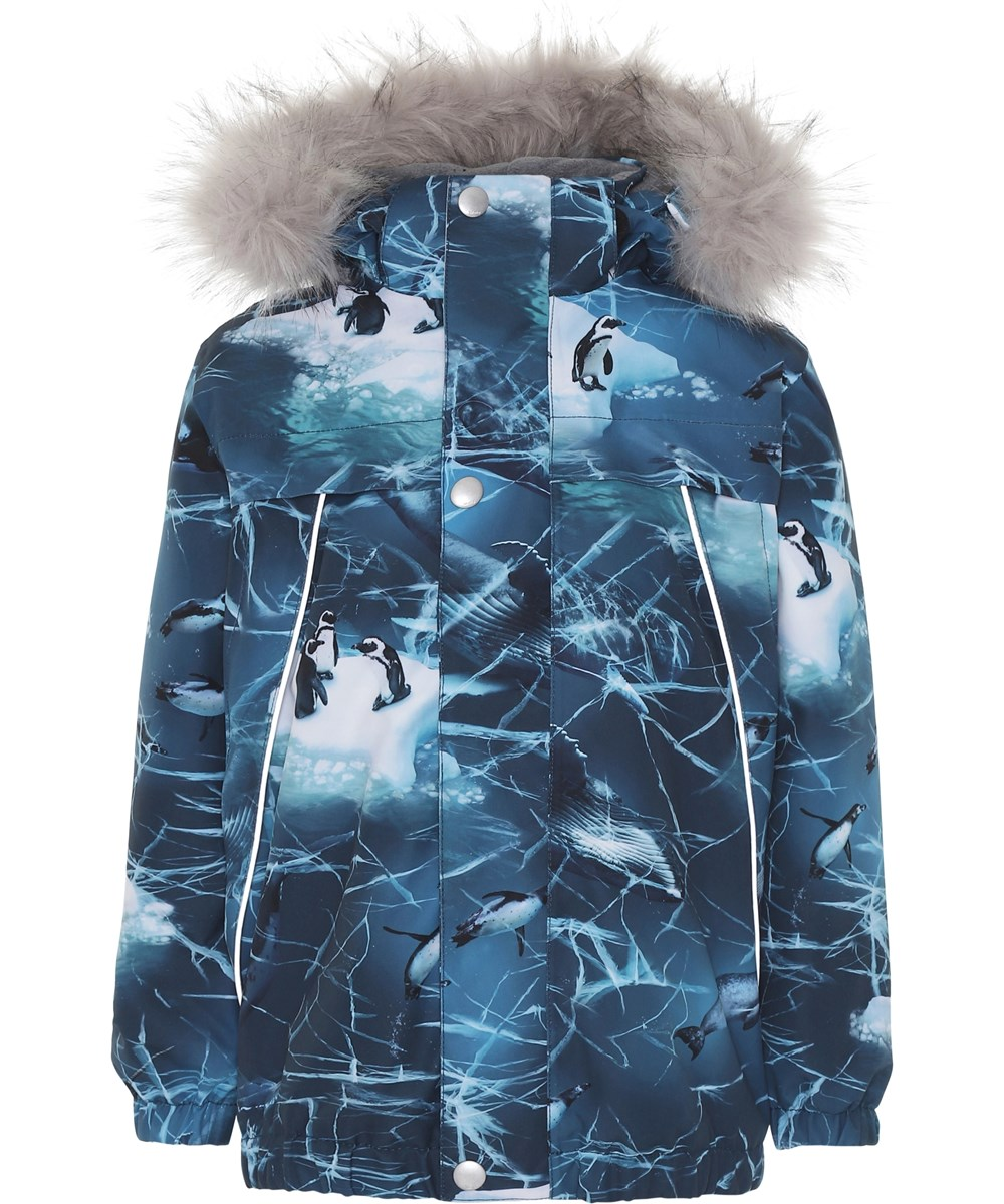 Castor Fur - Frozen Ocean - Blue winter jacket with print.