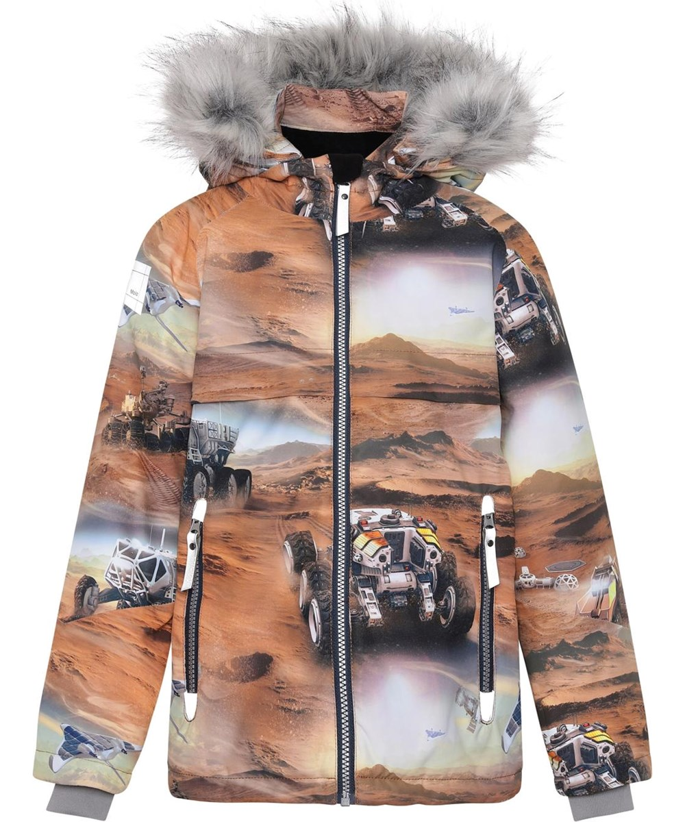 Castor Fur - Mars - Recycled winter jacket in brown with Mars print