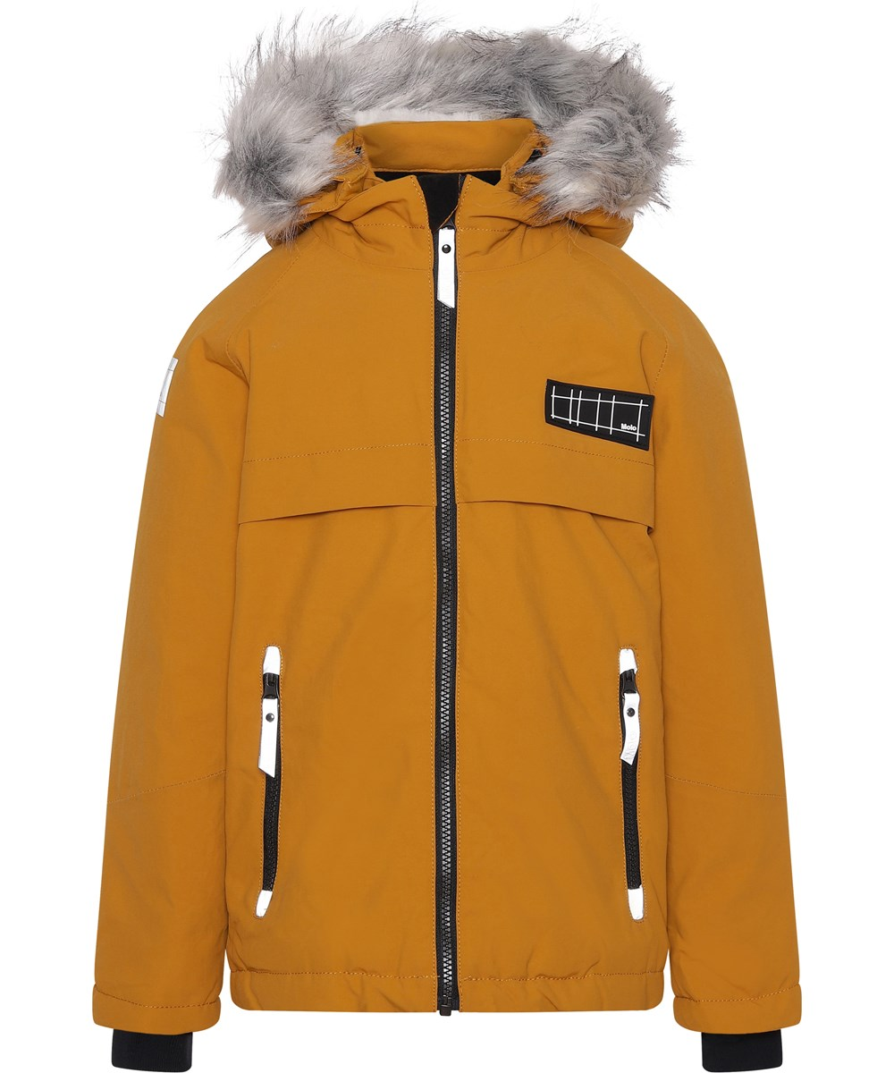 Castor Fur Recycle - Autumn Leaf - Recycled faux fur mustard coloured winter jacket