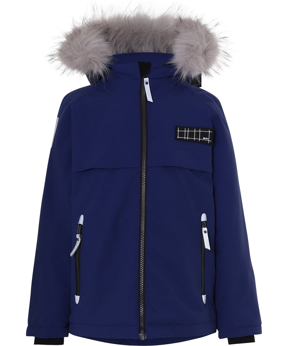 Castor Fur Recycle - Ink Blue - Recycled faux fur blue winter jacket