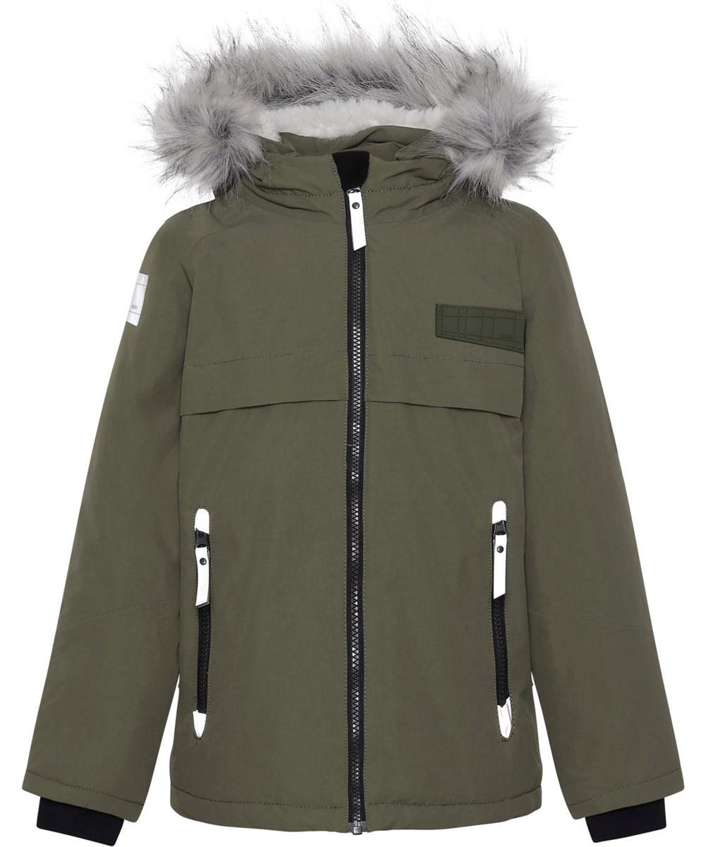 Castor Fur - Vegetation - Recycled winter jacket in green with fur trim