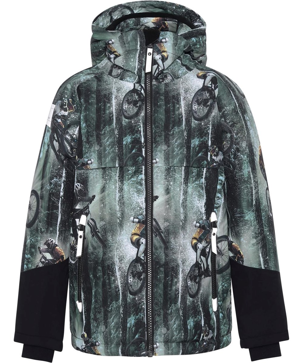 Castor - Snow Bikers - Recycled winter jacket in green with a print of a bike