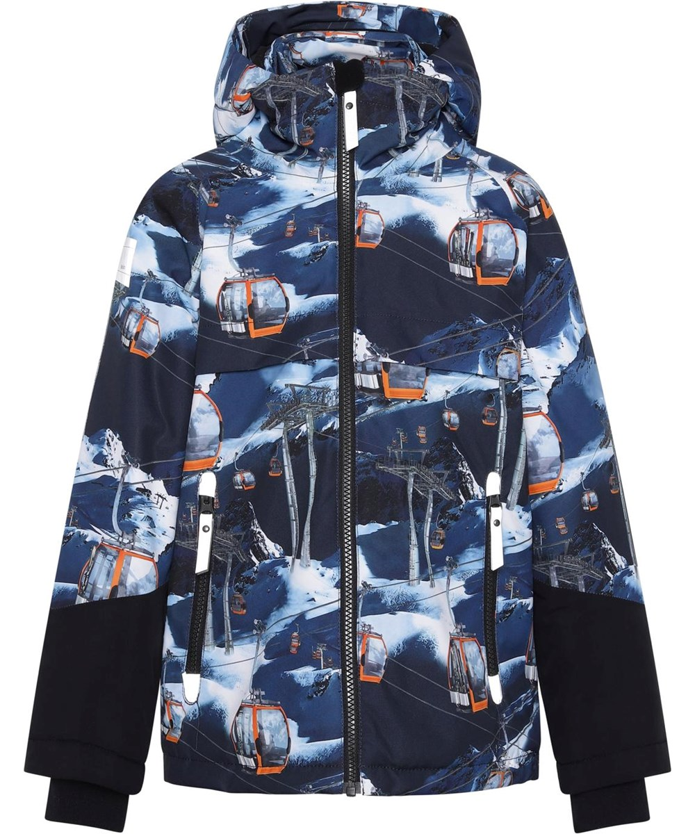 Castor - Way Up - Recycled winter jacket in blue with ski lift print