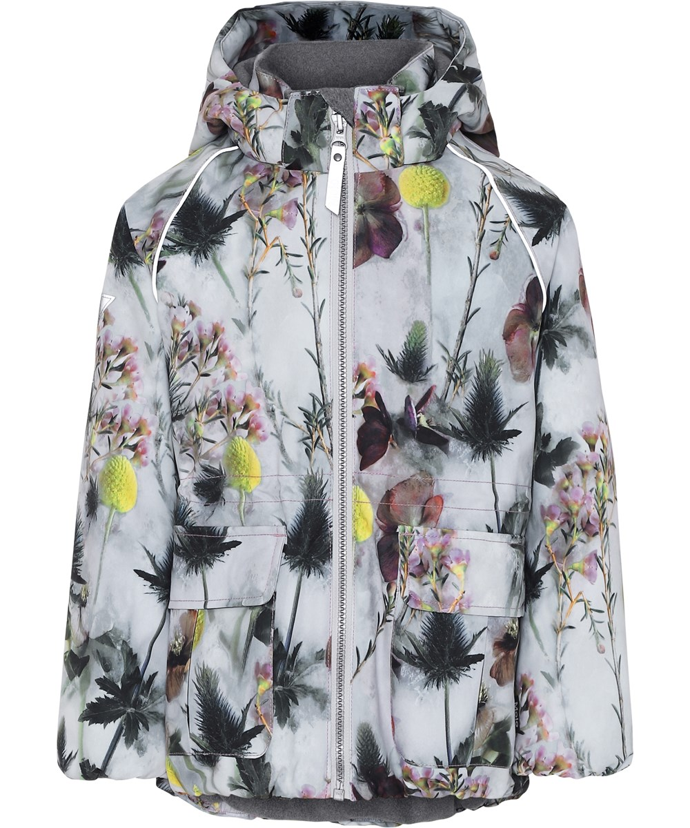 Cathy - Frozen Flowers - White winter jacket with flowers.