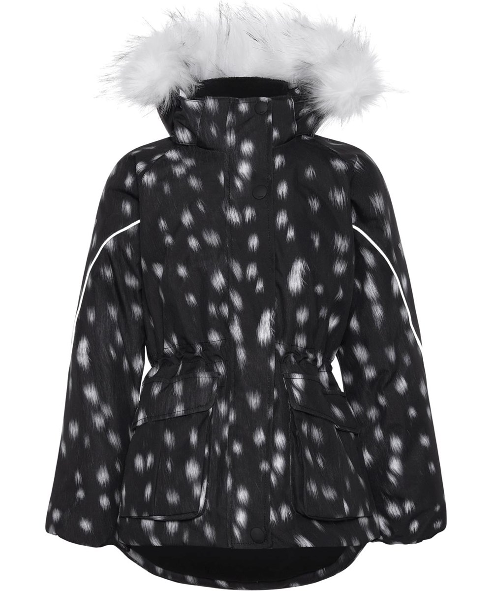Cathy Fur - Black Fawn - Recycled winter jacket in black with white spots