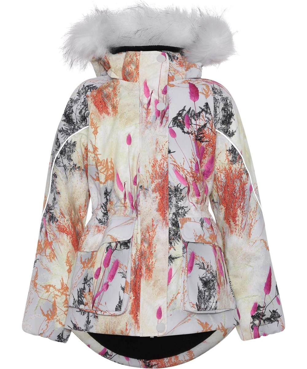 Cathy Fur - Eternal Flowers - Recycled winter jacket in light blue with a print of branches