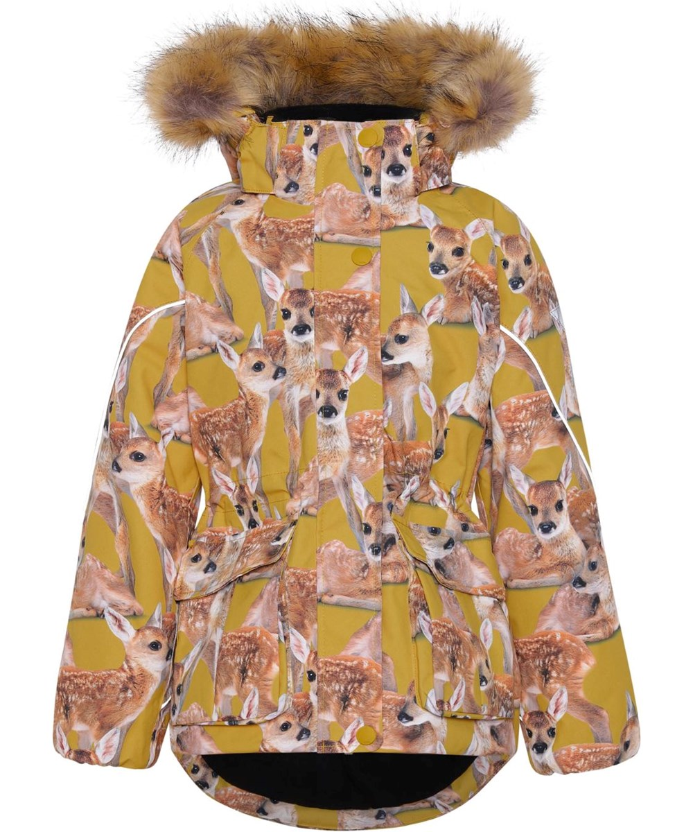 Cathy Fur - Fawns - Recycled yellow winter jacket with deer print