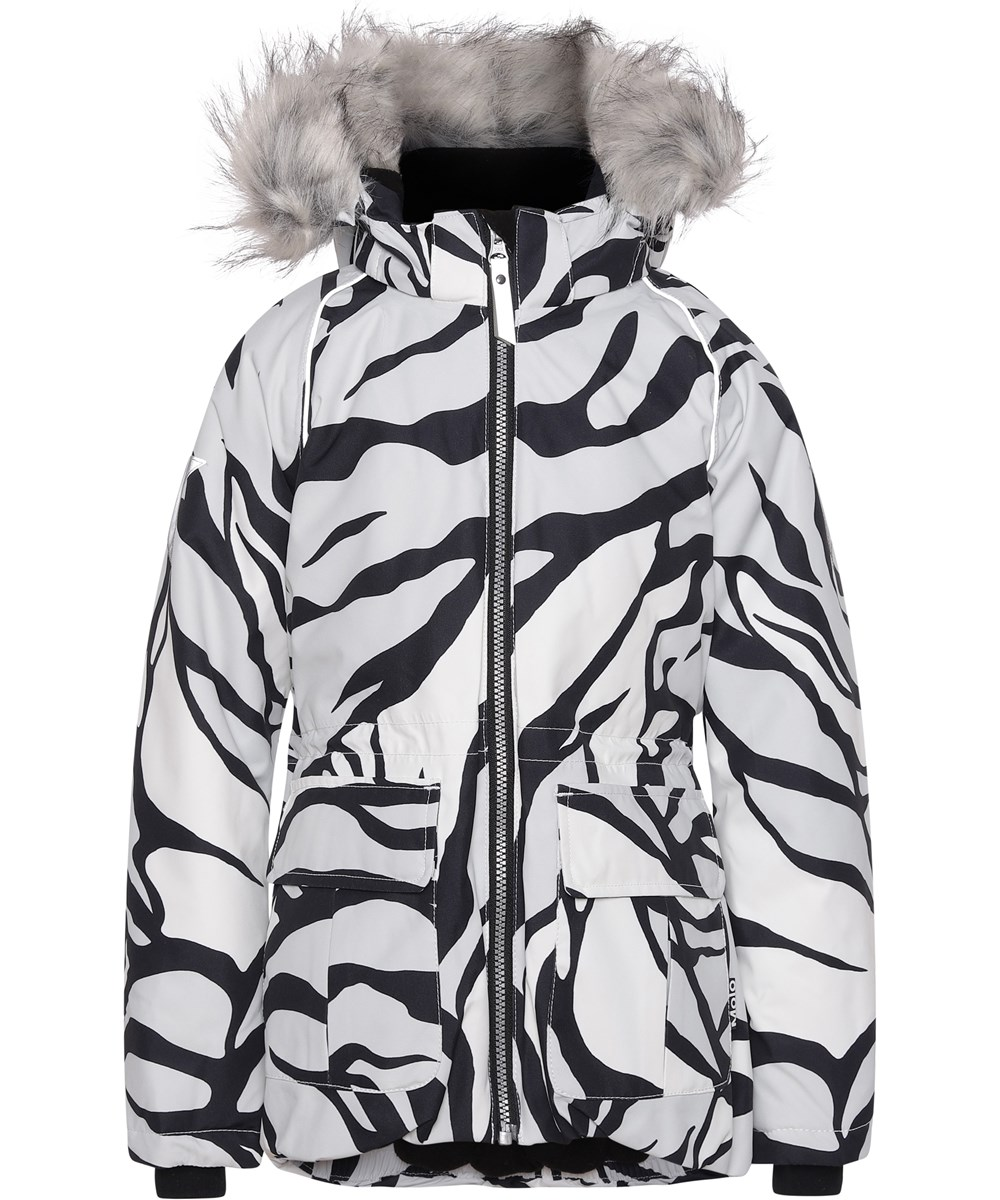 Cathy Fur - Graphic Tiger - Tiger print winter jacket yellow fur