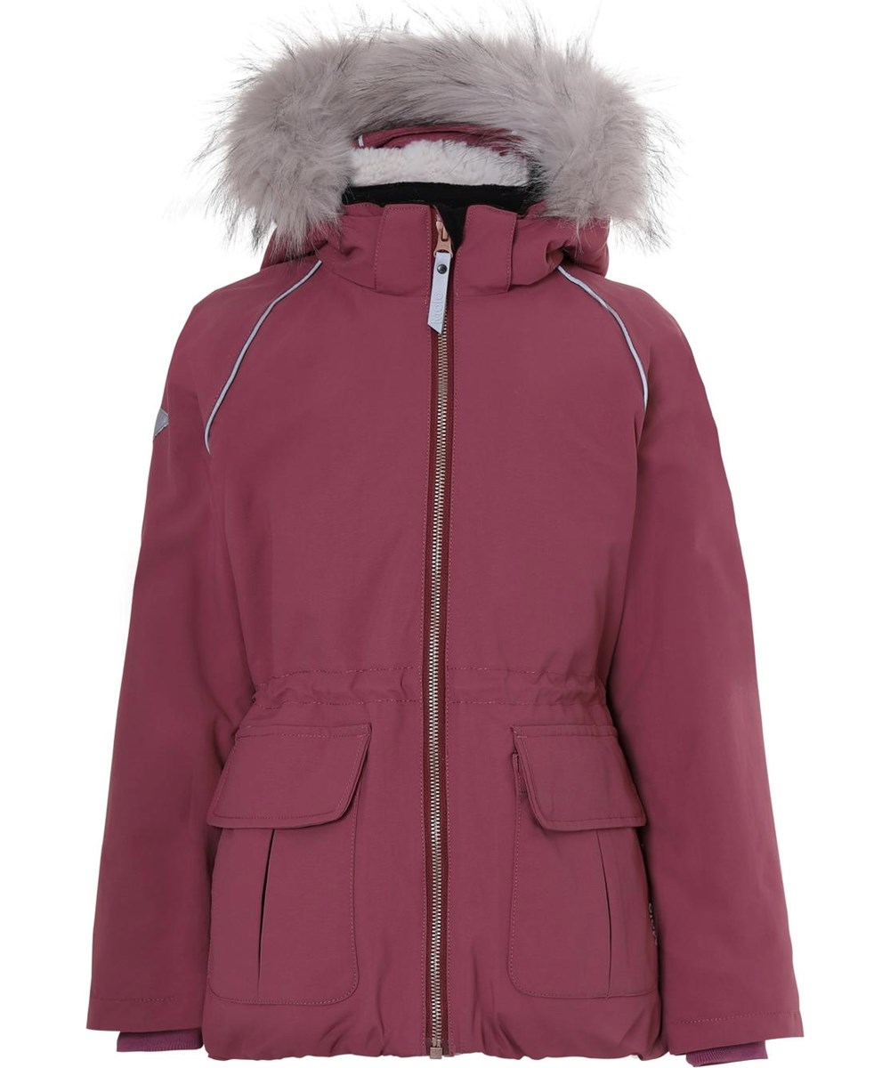 Cathy Fur Recycle - Maroon - Recycled faux fur bordeaux winter jacket