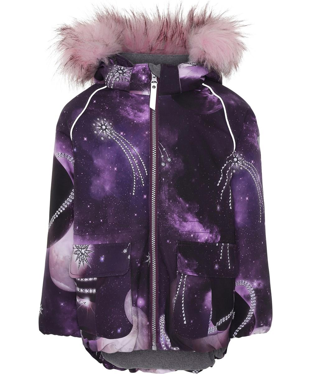Cathy Fur - Shooting Stars - Purple winter jacket with shooting stars.