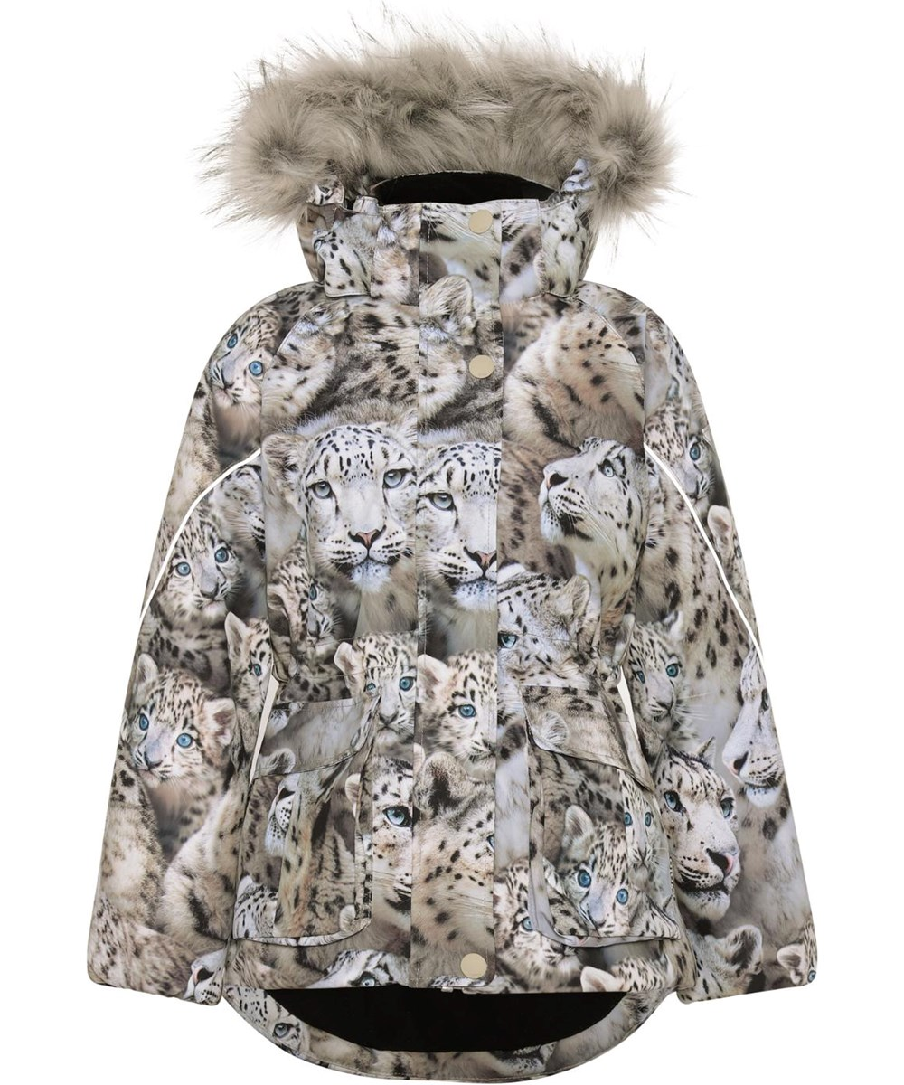 Cathy Fur - Snowy Leopards - Recycled waterproof winter jacket with a print of snow leopards