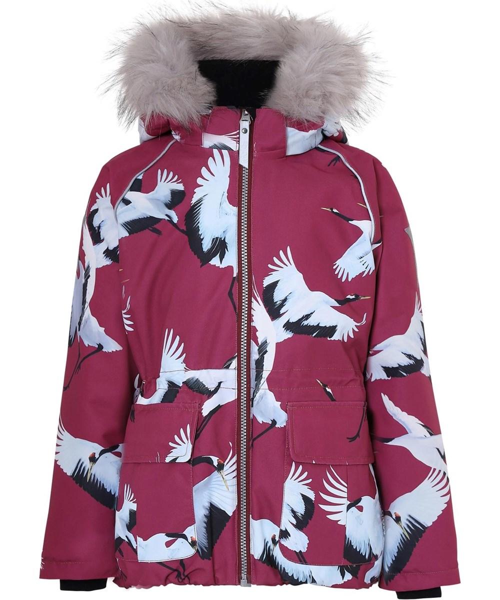 Cathy Fur - The Dance Of Life - Waterproof bird print winter jacket with fur
