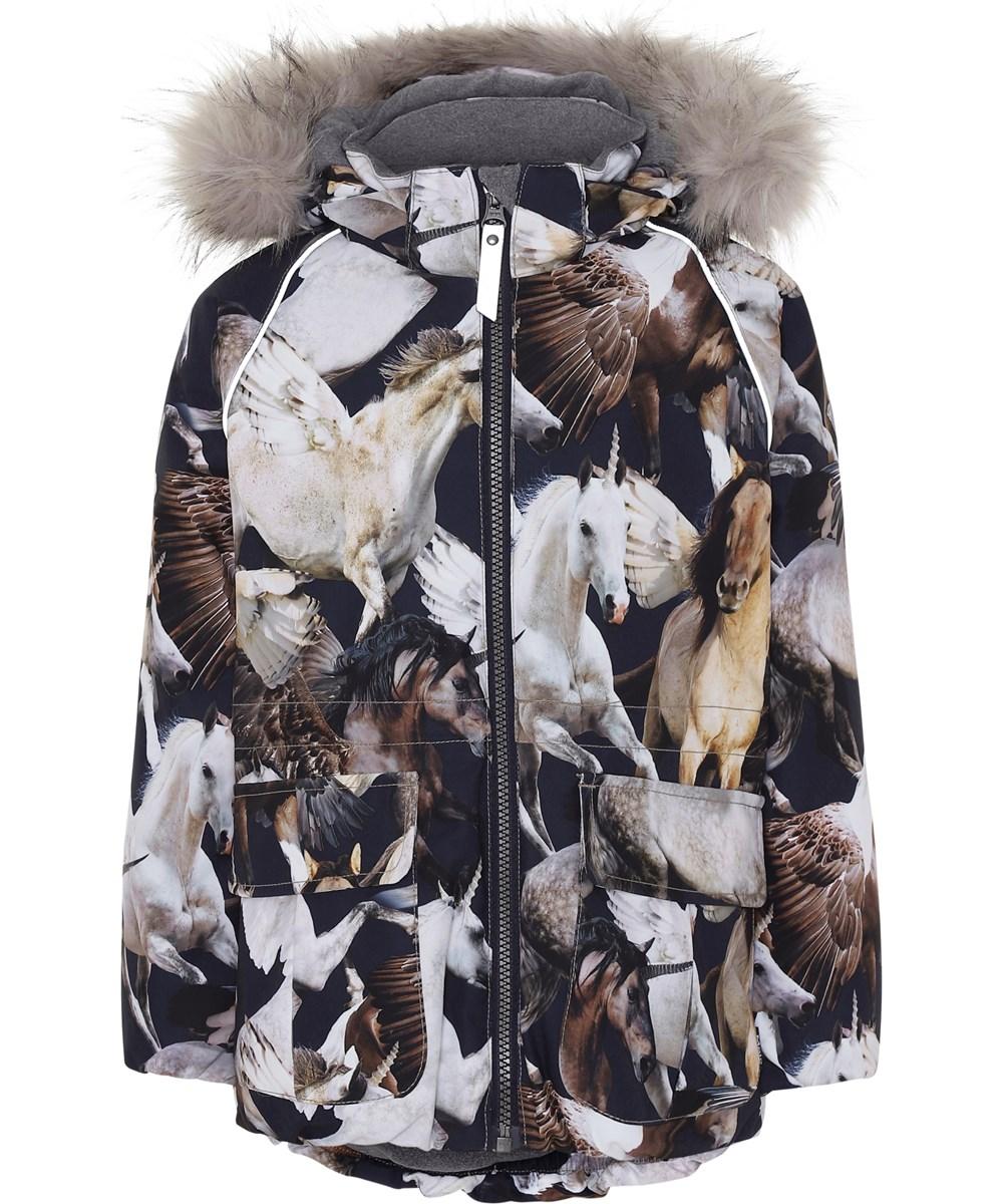 Cathy Fur - Unicorn And Pegasus - Dark blue winter jacket with unicorns.