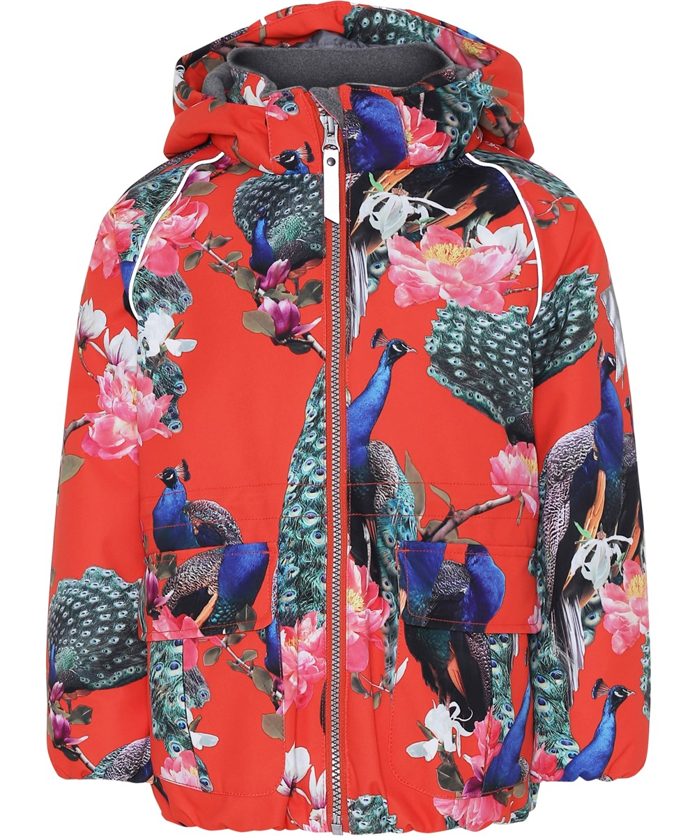 Cathy - Peacock - Red winter jacket with peacocks.