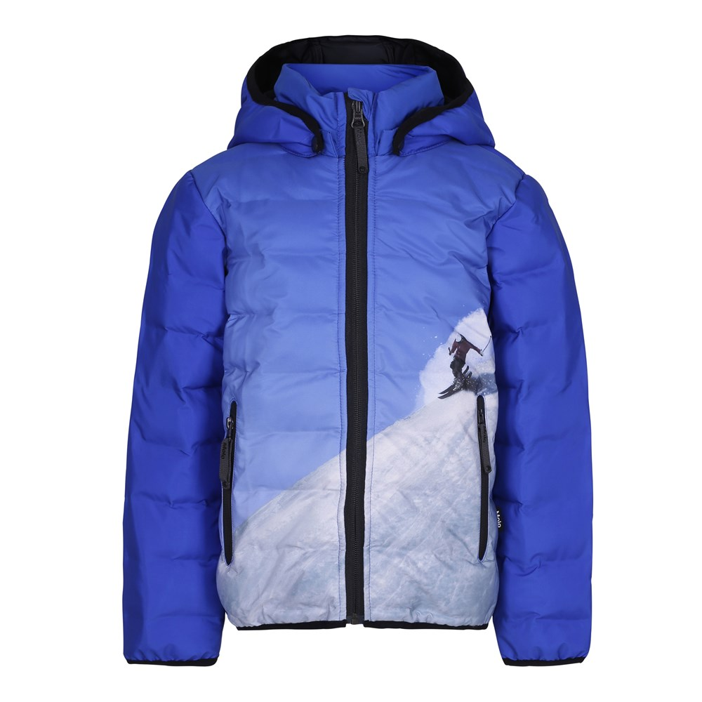 Hackett - Jump High - Blue winter jacket with digital skier print