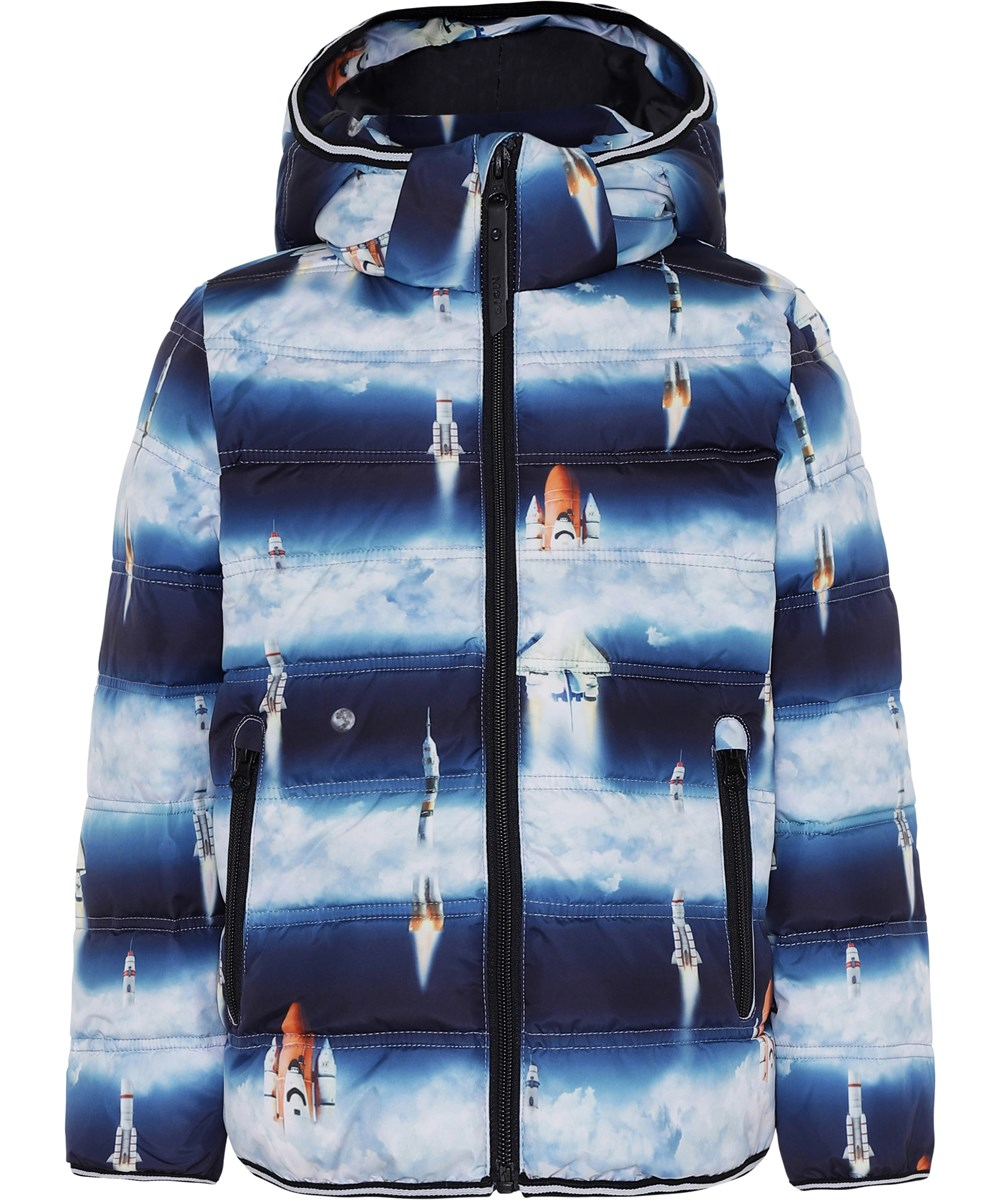 Hackett - Stratosphere - Blue striped winter jacket with rockets.