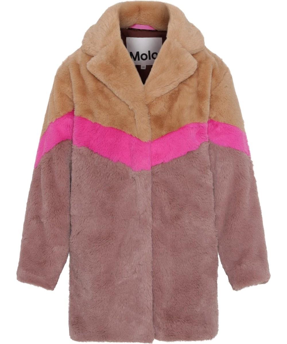 Haili - Block Deer - Faux fur jacket rose, brown and pink