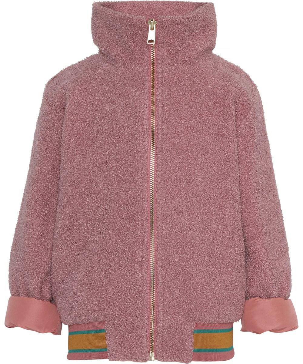 Haleen - Desert Sand - Pink teddy bomber jacket