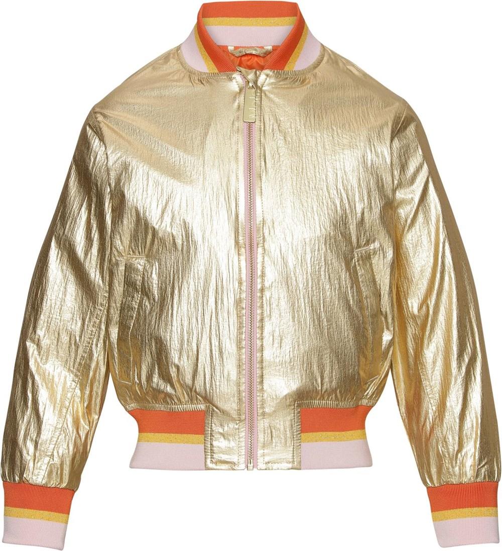Haliva - Golden - Gold coloured bomber jacket with stripes
