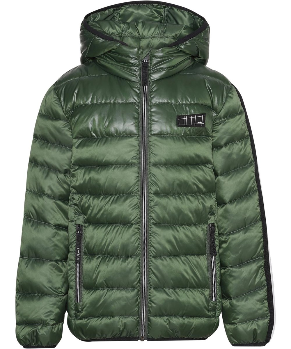 Hao - Black Forest - Green recycled winter jacket with stripe