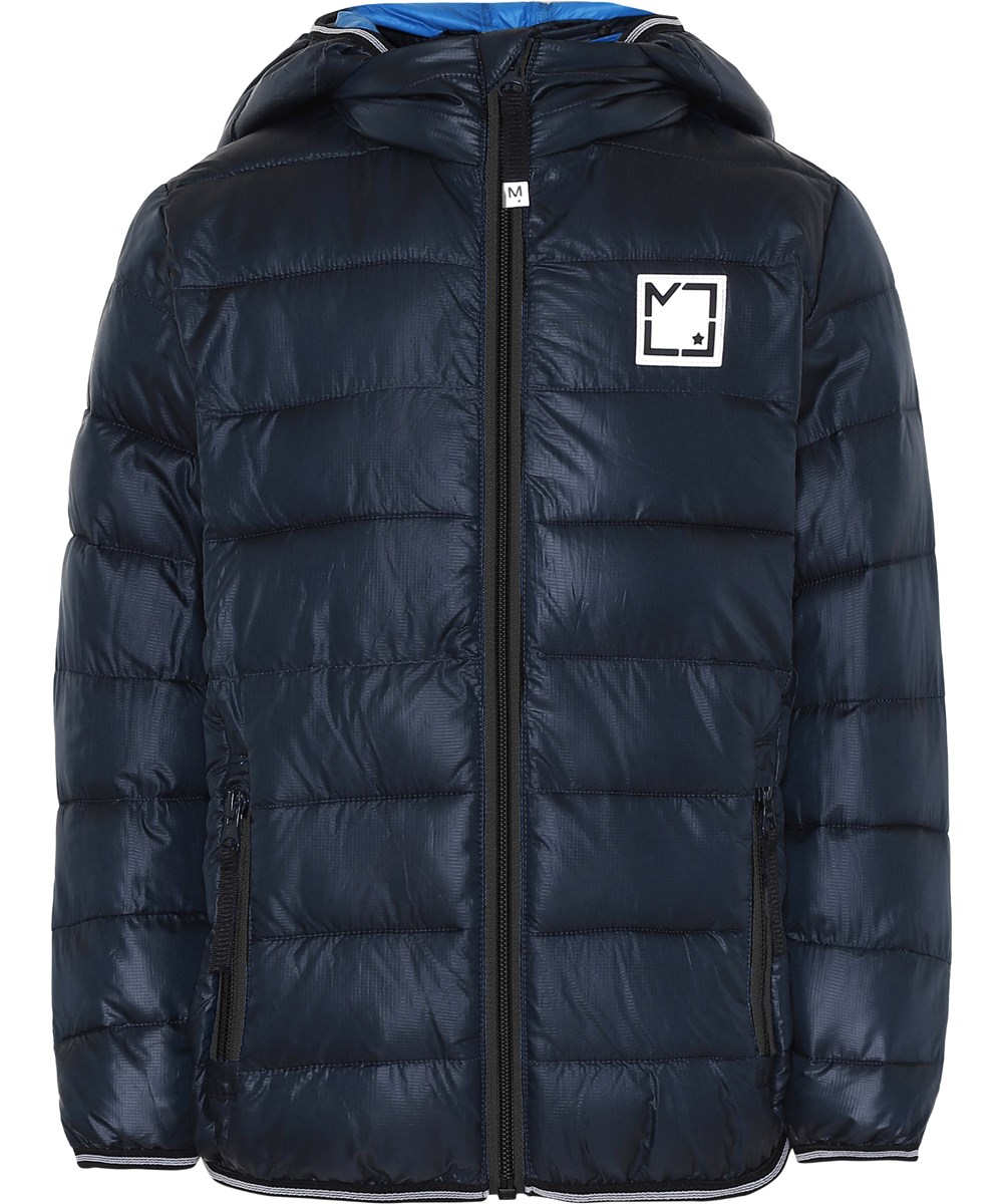 Hao - Carbon - Blue winter jacket with hood.