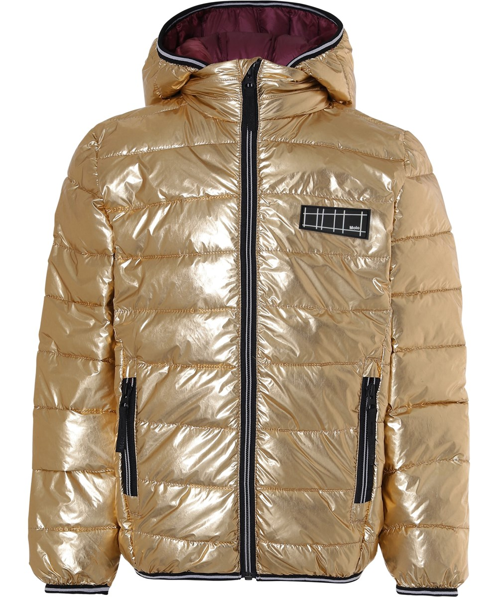 Hao - Golden - Gold winter down jacket with bordeaux lining