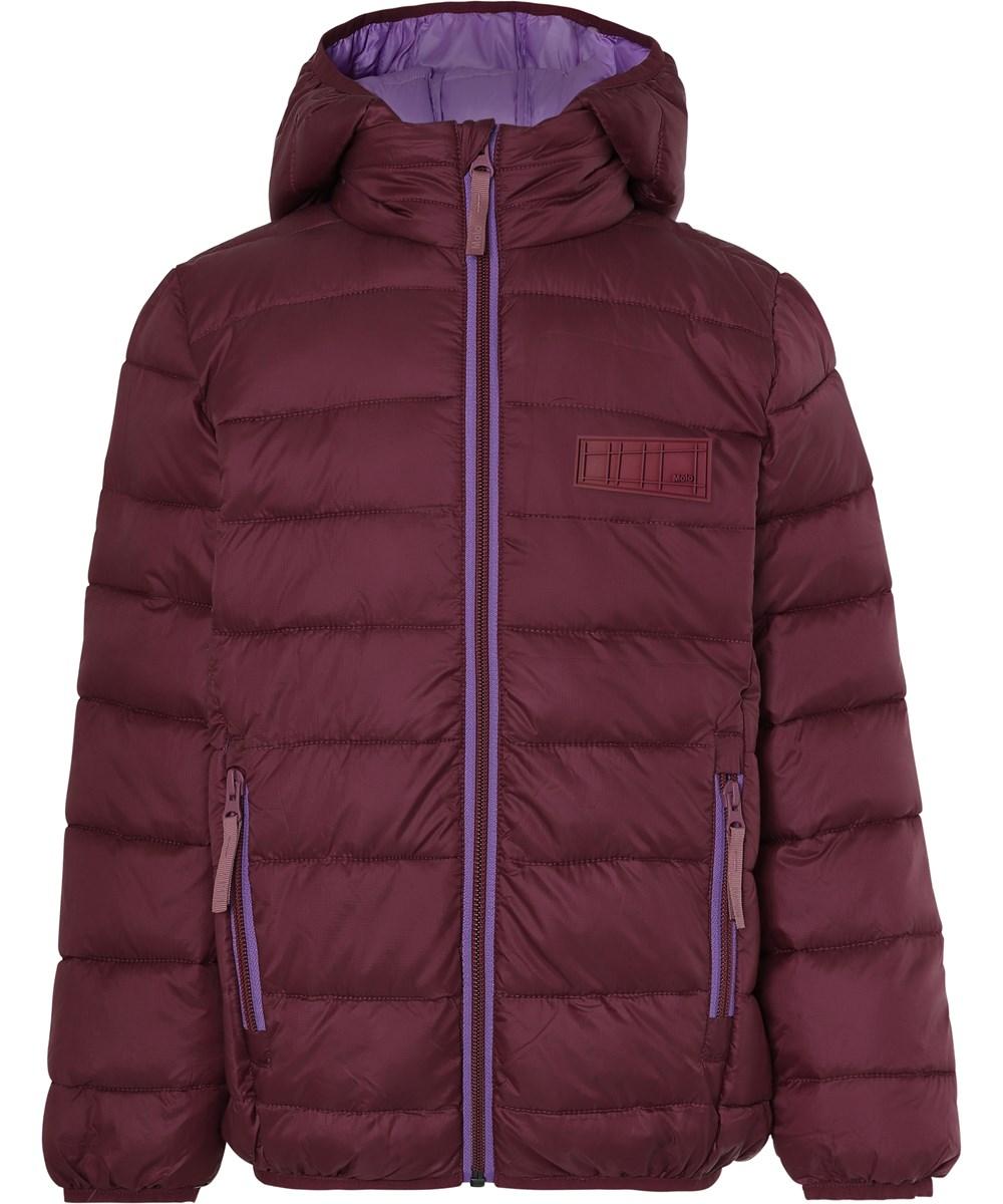Hao - Maroon - Bordeaux winter down jacket with purple lining