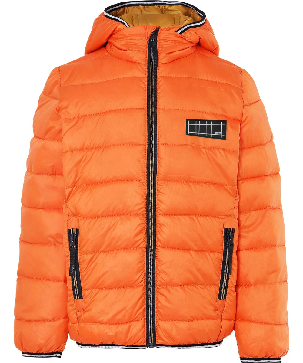Hao - Signal Orange - Orange winter down jacket with golden lining