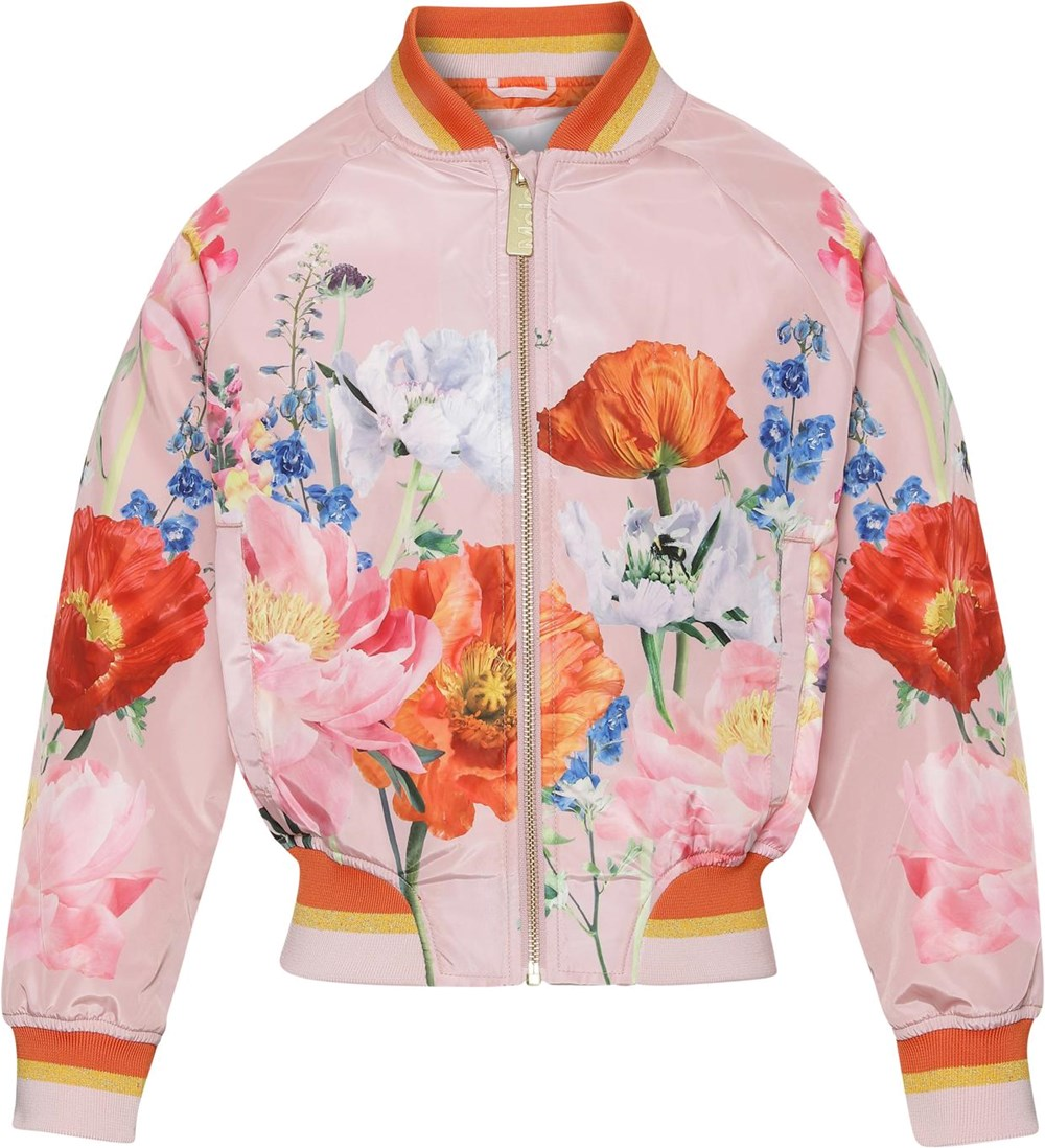 Happy - In Bloom Pink - Pink bomber jacket with floral print