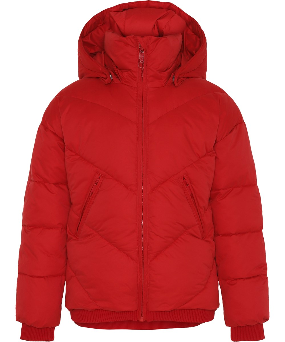 Hayly - Fiery Red - Red winter jacket with hood.