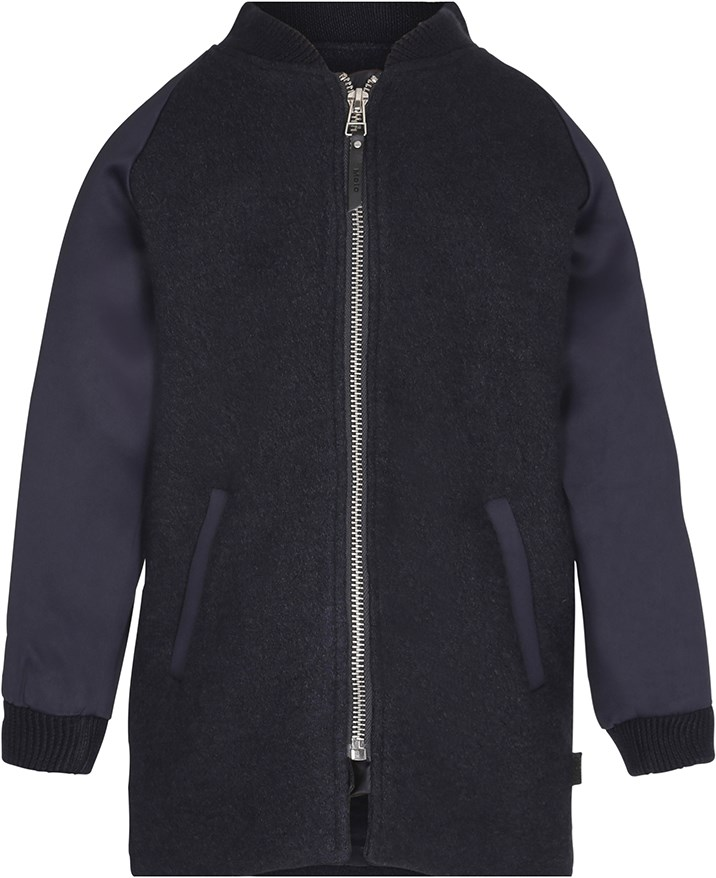 Haywood - Evening Blue - Long jacket in black wool blend with dark blue sleeves