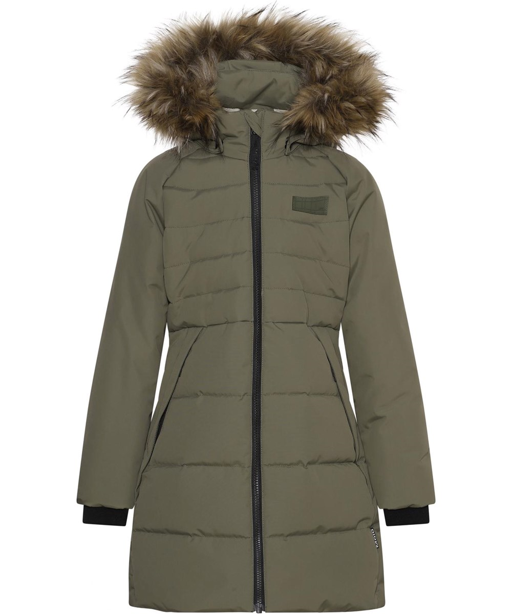 Hazeline - Vegetation - Green recycled winter jacket with faux fur