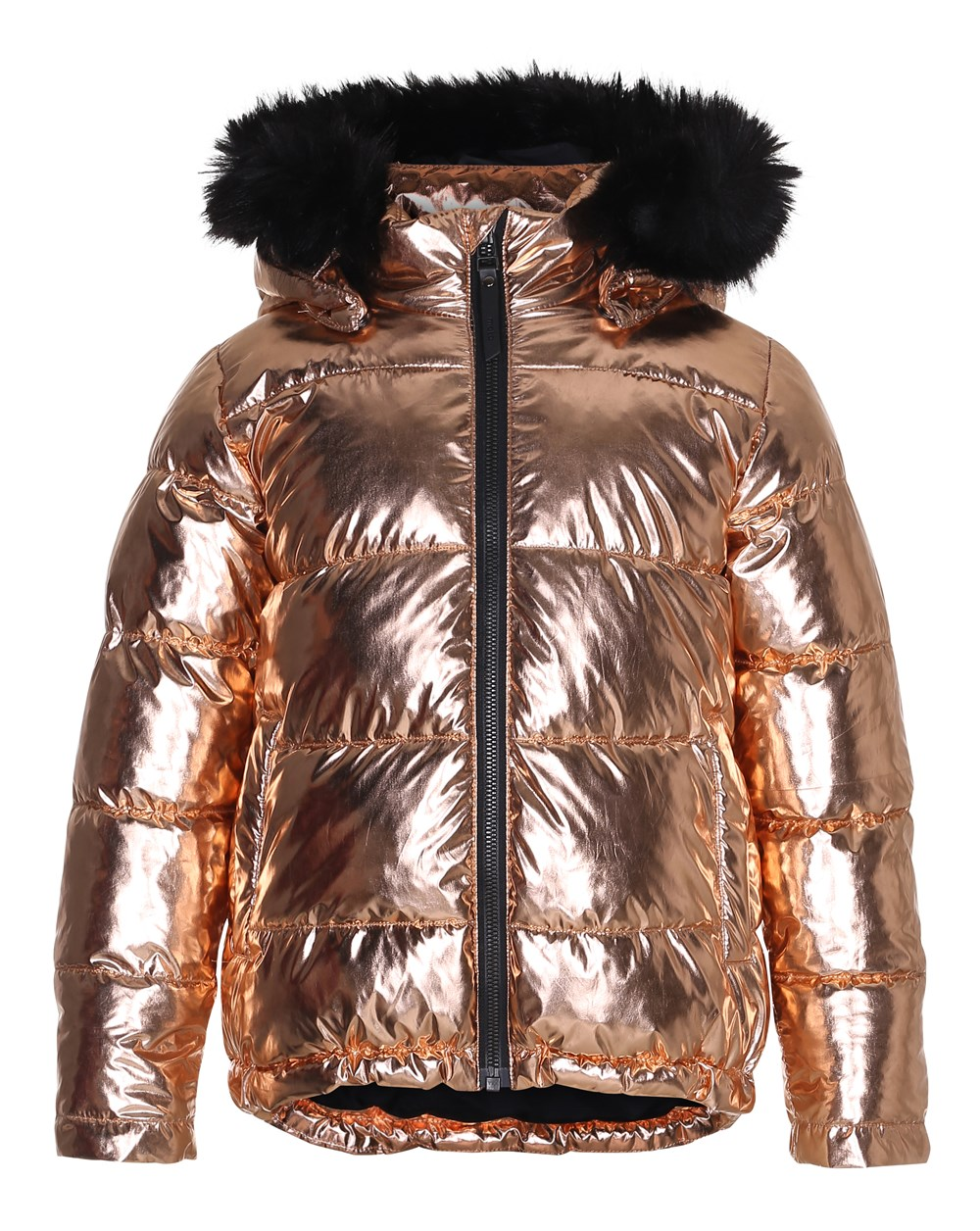 Hedia - Copper - Copper coloured jacket with fur trim