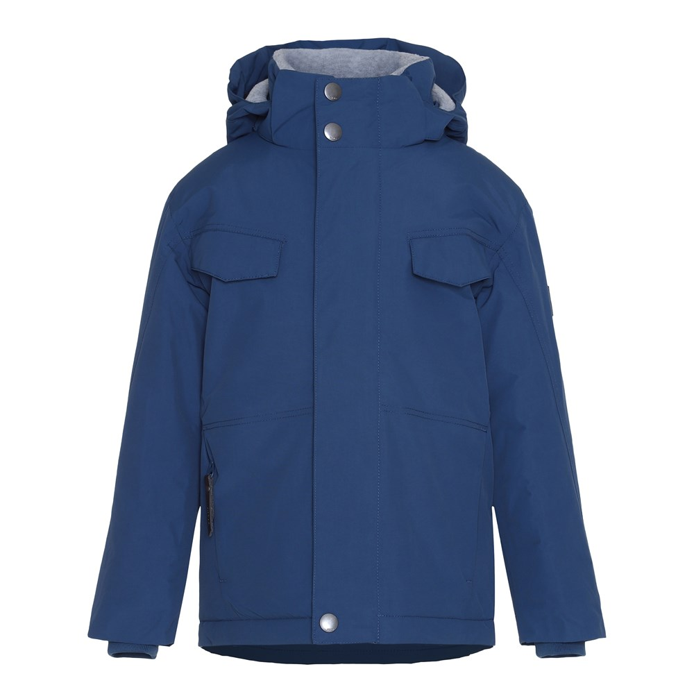 Henny - Blue Wing Teal - Dark blue lined winter jacket with fleece