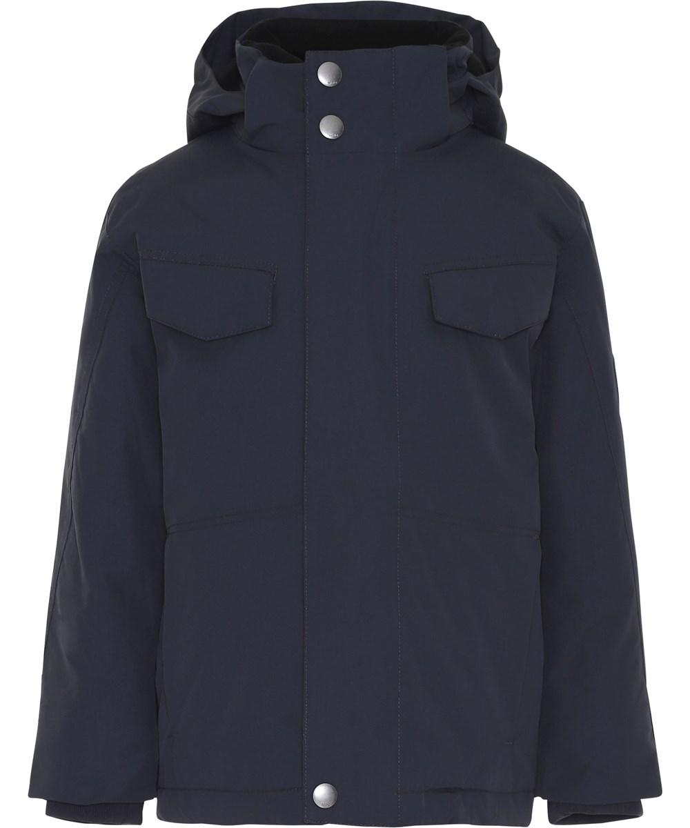 Henny - Carbon - Dark blue winter jacket with hood.