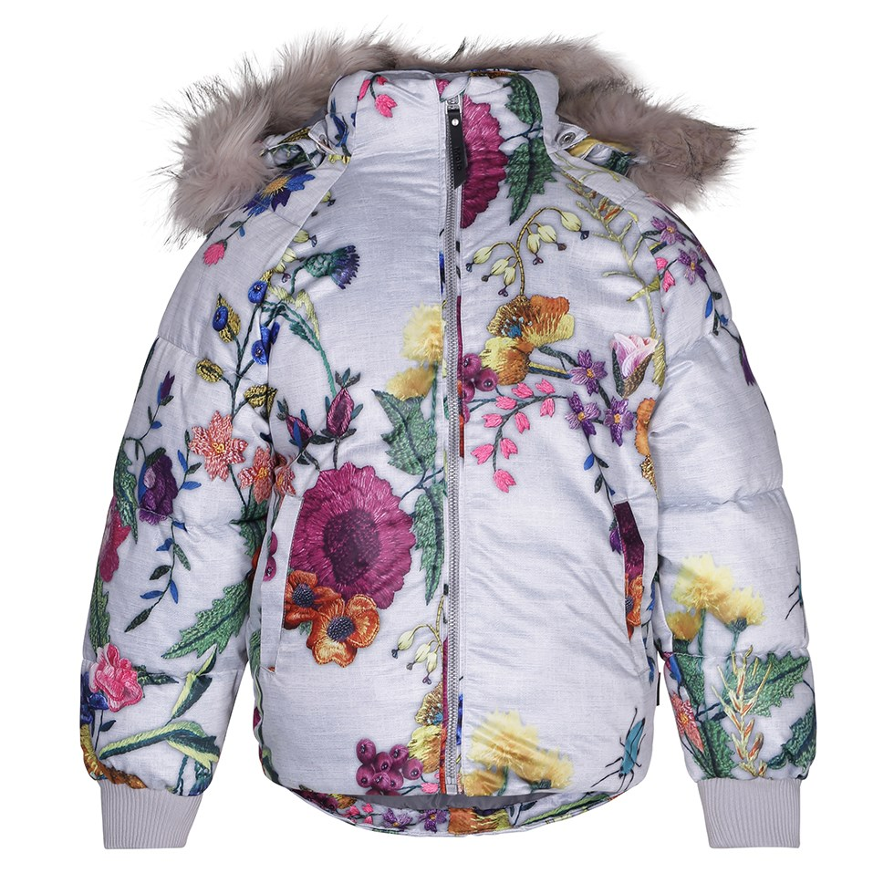 Henrika - Flower Embroidery - Light grey bomber jacket with a digital flower print
