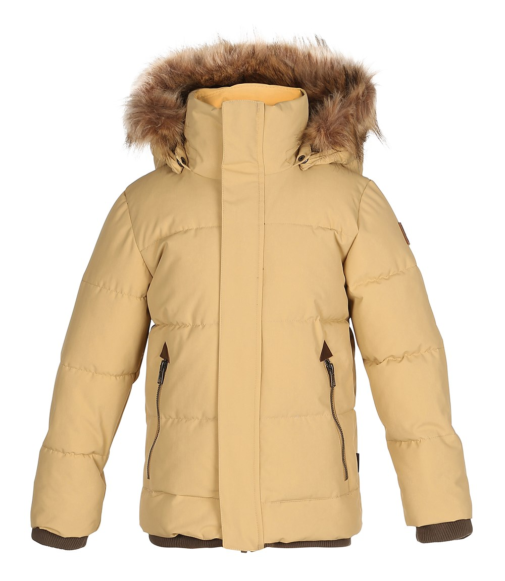 Herbert - Praire Sand - Sand coloured long winter jacket with fur trim
